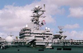 The island on the USS Abraham Lincoln