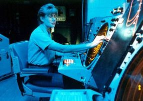 An air traffic controller onboard the USS Kitty Hawk