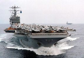 The USS George Washington, one of the U.S. Navy's nuclear-powered super aircraft carriers