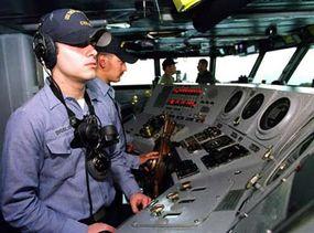 The lee helmsman (left) and helmsman on the USS Theodore Roosevelt