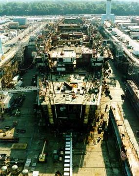 The USS Ronald Reagan, under construction in the Northrop Grumman Newport News dry dock