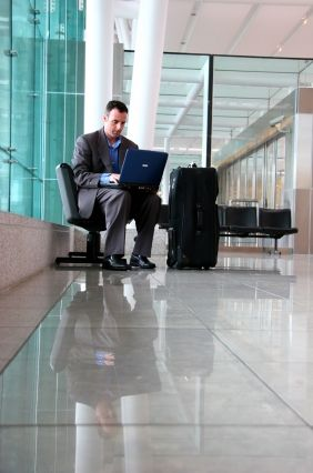 Travelers can check flight information right from their computers.