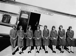 The original eight stewardesses, registered nurses who went to work for Boeing Air Transport in 1930
