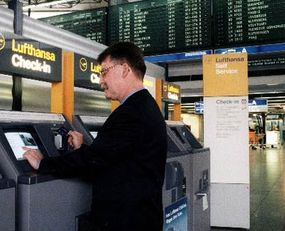 Many travelers are choosing to buy electronic tickets. In some cases, passengers with e-tickets can check themselves in using a self-service check-in machine.