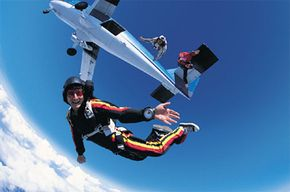 Skydiving Image Gallery Looks like fun, right? Now imagine it without a parachute. See more pictures of skydiving.