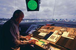 An air traffic controller monitors the skies.