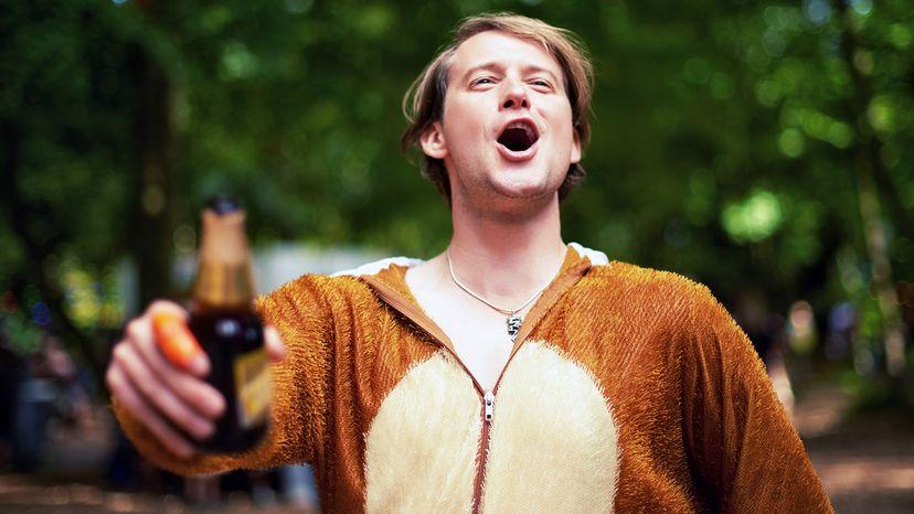 drunk guy in bear suit