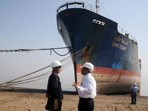 Members of the United Nations' International Maritime Organization inspect this ship to ensure safe conditions at Alang.