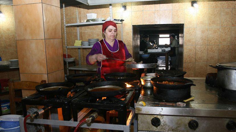 woman cooking in bunker