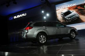 The 2010 Subaru Outback is debuted during the New York Auto Show in New York City.