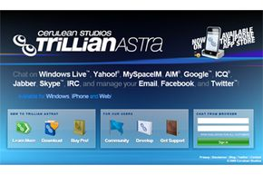 Trillian's home page lets you download the Windows client, visit the Apple App Store for the iPhone version or log in to chat on the Web.