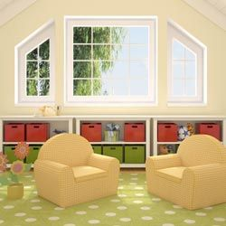 This attic was renovated into a cute playroom.
