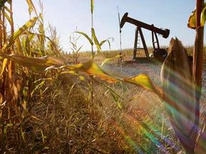 An oil well operates in the middle of a cornfield. Will engines of the future depend on either of these sources?