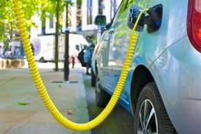 This electric car avoids the gasoline pump and picks up a quick charge.