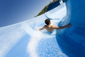 Testing waterslides may be a dream job for thrill-seekers who have the guts to brave all sorts of rides, even in chilly weather.