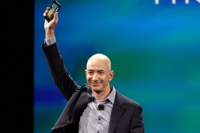 Amazon CEO Jeff Bezos shows off the Fire phone at a news conference in June 2014.