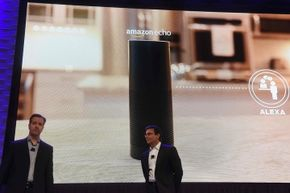 Ford executives Greg Hart (left) and Mark Fields discussed the Amazon Echo during the Consumer Electronics Show in January 2016.