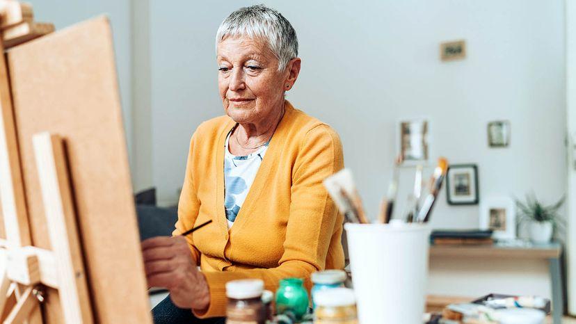 left-handed senior woman
