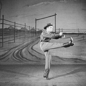 "American actress, singer and dancer Allyn Ann McLerie of the American Ballet Theatre dances the role of The Cowgirl in Aaron Copland's ""Rodeo"" in 1953."