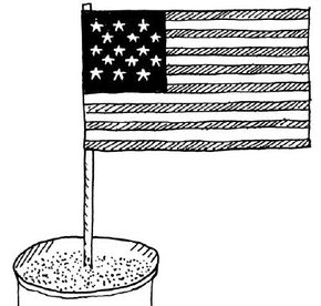 Place the American flag in a bucket of sand.