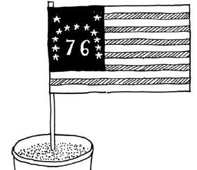 Give different teams different versions of the American flag.