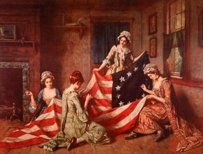 Betsy Ross and assistants sew the American flag