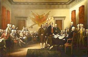 Five members who wrote the Declaration of Independence presenting document to Congress