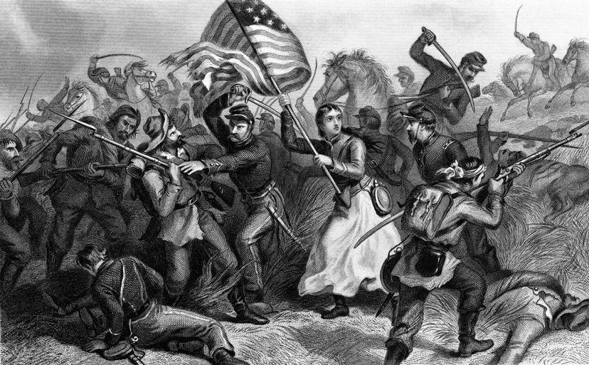 civil war, american flag, battle