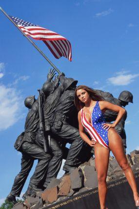 american flag bathing suit at iwo jima memorial