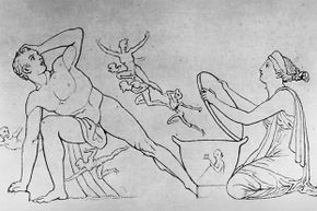 This drawing shows Pandora releasing all the troubles of the world from her box while her horrified husband Epimetheus looks on.