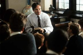 """Robin Williams talks with his students in this scene from """"Dead Poets Society."""""""