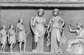 A father and his two sons consult the oracles of Delphi, circa 600 B.C.E. People came from all over Greece to have their questions answered by the priestesses of Apollo.