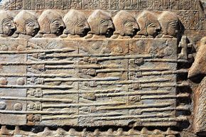 Sumerian soldiers from 2450 B.C.E. go to war. The Sumerians invented the battle helmet, among many other war-related items.