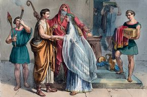 Tailors must have been very busy creating the garments for this Roman wedding from antiquity.