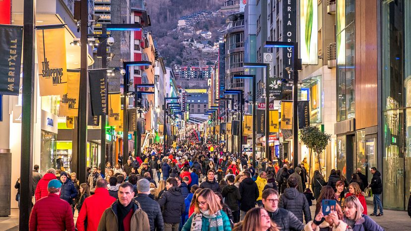 Shoppers in Andorra