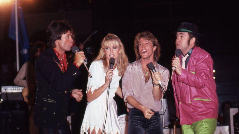 Andy Gibb, Cliff Richard, Olivia Newton-John and Elton John