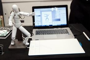 This poseable 3-D character peripheral, called Qumarion, helps artists create animated figures.