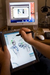 Some software enables animators to draw 2-D images that are then rendered in 3-D.