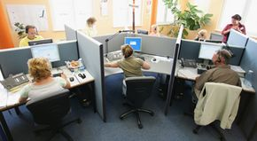 Answering services companies can have a group of operators in one location.