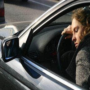 An anti-sleep alarm would have already awakened this tired driver.