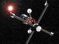 Antimatter spacecraft like the one in this artist concept could carry us beyond the solar system at amazing speeds.