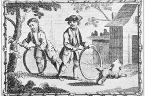 Two American boys in Colonial times play with hoops -- and their dog.