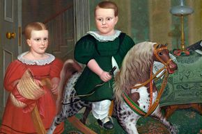 """This 1840 painting titled """"The Hobby Horse"""" by Deacon Robert Peckham shows a young boy enjoying a rocking horse."""