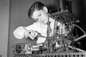 A boy plays with an erector set in 1945. You can still buy them today.