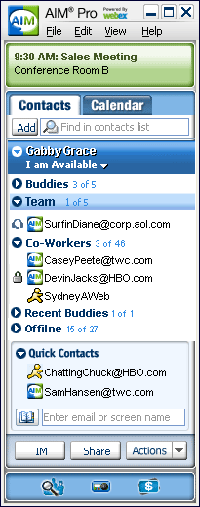 Many business professionals rely on AIM Pro to maintain their schedule and reach colleagues.