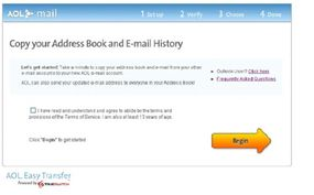 Easy transfer allows users to import contact information from other e-mail programs.