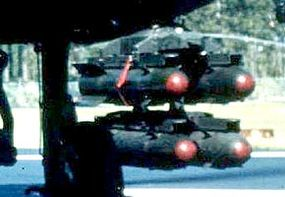 Each rail set holds four Hellfire missiles.