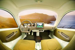 The Aptera's Eyes Forward system gives drivers a 180 degree rear view sight.