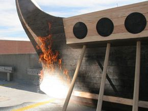 The MIT researchers set the replica ship aflame using their own version of Archimedes' death ray.