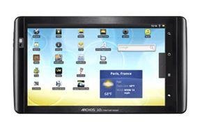Some Archos tablets, including this 10.1-inch 101 model, have built-in stands for freestanding use.